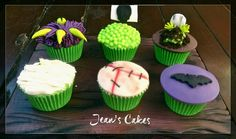 Halloween cupcakes, spooky, green and purple.