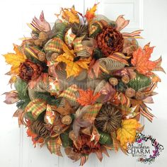 Deco Mesh Fall Wreath For Door or Wall Burlap Grapevine Pumpkins Moss Burgundy via Etsy