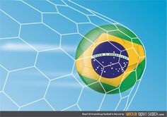 Brazil 2014 football in the net over a deep blue sky. World cup is getting closer and the soccer passion is effervescence can already be felt. Under Creative Commons 3.0 License