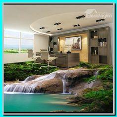 Green Stream in Mountain PVC Waterproof Non-slip Eco-friendly Self-Adhesive Floor Murals Bamboo House, Bamboo Fence, 3d Flooring, Kitchen Flooring, Floors, Style At Home, Nature Inspired Bedroom, Floor Wallpaper, Wallpaper Murals