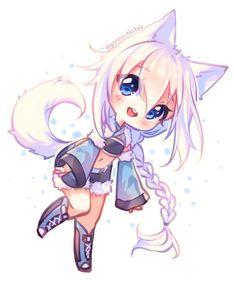 cat girl [+Video] Commission - Floffy Happiness by Hyanna-Natsu Chibi Manga, Dibujos Anime Chibi, Cute Anime Chibi, Anime Neko, Manga Anime, Chibi Cat, Chibi Girl Drawings, Cute Kawaii Drawings, Cute Animal Drawings