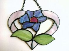 Stained Glass Heart And Flower #StainedGlassJewelry