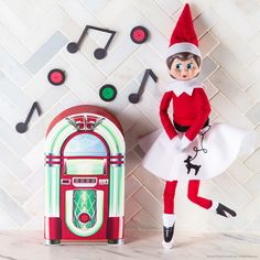 Free printable so your elf can rock around the jukebox! #ScoutElfIdeas | Elf on the Shelf Ideas | Ideas for Scout Elves | Creative Elf Ideas | Scout Elves at Play