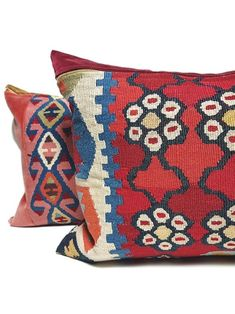 Turkish Kilim Lumbar Pillow by My Vintage Pillow Red Pillows, Vintage Pillows, Throw Pillows, Silk Pillow, Lumbar Pillow, Designer Pillow, Pillow Design, Handmade Shop, Vintage Home Decor