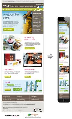 Waitrose has done a great job of removing all unnecessary content within the header of this email and re-arranging the content into a single column. I especially like how the picture of the fisherman at the top is replaced with a more mobile-friendly version. #ResponsiveWebDesign #ResponsiveEmailDesign