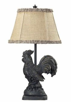 Details About French Country Rooster Table Lamp Decorative Burlap Shade Farm Animal 25H