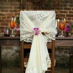Try a lace curtain panel or even a small tablecloth for an inexpensive alternative for the bride's table. Wedding Trends, Diy Wedding, Rustic Wedding, Wedding Ideas, Wedding Inspiration, Wedding Reception Planning, Reception Rooms, Reception Ideas, Wedding Chair Decorations