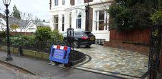 Natural Quartz sett driveway with limestone sett inlay Liverpool