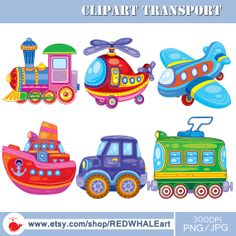Transport Digital Clipart Elements Set / 6 PNG/JPG/ by REDWHALEart, $5.00