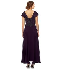 Jkara Ruffled Cap-Sleeve Beaded-Bodice Gown | Dillards.com