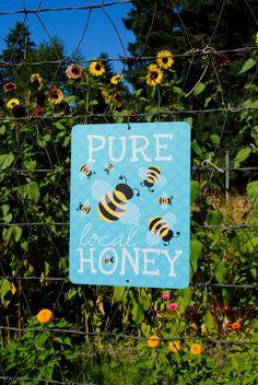 "Pure Local Honey Sign 9"" X 12"". $25.95, via Etsy."
