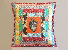 Colorful Quilted Throw Pillow - Courthouse Steps with Anatomical Heart - Feedsack & Novelty Prints - Geek Chic - Handcrafted - American Made - aftcra - artisanal home decor - Ivan and Lucy