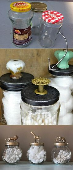 Reuse Old Glass Jars As Bathroom Decorative Storage – 19 Recycled Projects To Customize Your Small Bathroom. – DIY & Crafts Reuse Old Glass Jars As Bathroom Decorative Storage – 19 Recycled Projects To Customize Your Small Bathroom. Jar Crafts, Home Crafts, Diy Home Decor, Recycled Home Decor, Recycled Art, Holiday Planner, Decorative Storage, Decorative Glass, Small Storage