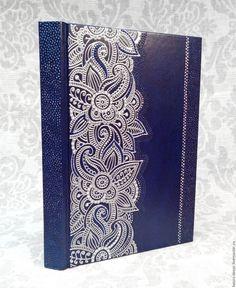 Купить Ежедневник А5 №5 - тёмно-синий, серебряный, контурная роспись, подарок, ежедневник, креатив