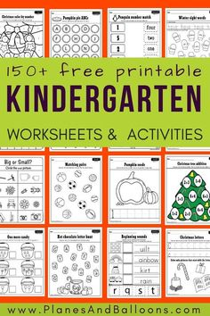 Free Printable Worksheets For Kindergarten - Planes & Balloons
