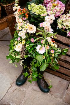 Wedding flowers planted in wellies Wedding Bouquets, Wedding Flowers, Vintage Wedding Photography, Quirky Wedding, Garden Planters, Festival Party, Garden Wedding, Planting Flowers, Floral Wreath