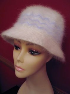 White Angora Bucket Hat w Blue Zigzag Motif Incredibly Soft & Warm One Size All #unbranded #Bucket