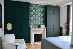 An apartment in a shades of blue by Fabienne Boé Pirey. In the bedroom, Hicks Grand wallpaper by Cole and Son in green. On sale at Au fil des Couleurs. Teal Rooms, Cole And Son, Vintage Patterns, Shades Of Blue, Art Deco, Living Room, Wallpaper, Bedroom, Inspiration