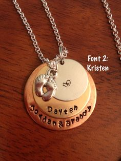 Personalized Hand stamped Layered Necklace with Kristen font:   https://www.etsy.com/listing/155612170/personalized-layered-hand-stamped?ref=listing-shop-header-2