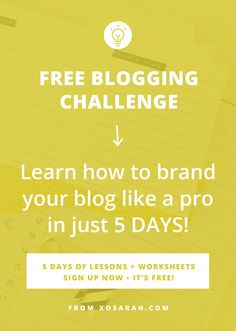 Your brand is your first chance to make an impression on new blog readers.It can be a BIG factor in whether new readers share your blog posts, follow you on social media, join your email list, or come back AT ALL. Take the FREE 5-day challenge and learn how to define your brand, create a style guide, update your homepage and MAKE SURE readers know what you're all about just seconds after landing on your blog.