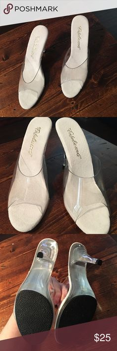 4 inch Heels, clear & white Worn twice around the house, very clean. Never used outdoors. Excellent condition. Shoes Heels