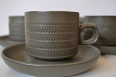 SOLD***$60***Denby Stoneware Camelot Pattern Cup and Saucer - set of 6***For more unique items please visit: http://www.etsy.com/shop/TsEclecticCorner
