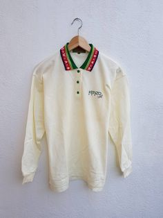 6330175f13e Buy Kenzo Vintage90s KENZO GOLF Embroidered Colorful Collar Long Sleeve  Casual Polos Shirt Size 1,