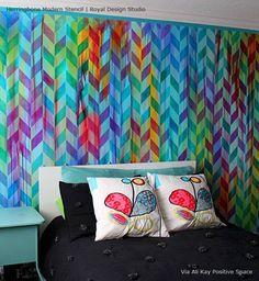 Stenciled Modern Bedroom Wall with Herringbone Shuffle Stencil via Ali Kay   Royal Design Studio Stencils