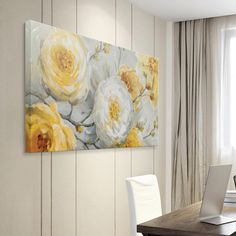 Lovely flowers make this Artissimo Designs Sunshine canvas wall art a must-have for your office, bedroom or living room. Diy Wall Art, Wall Decor, Deco Zen, Gold Leaf Art, Graffiti Wall Art, Yellow Painting, Art Pictures, Canvas Wall Art, Flower Wall