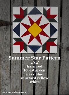 Painted Wood Barn Quilt, Summer Star Pattern via Etsy