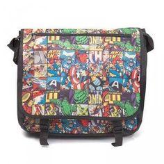 Marvel – Comics All Over Messenger Bag Mode Geek, Motif Leopard, Figurine Pop, Collage Design, Shoulder Strap, Shoulder Bags, Fashion Bags, Messenger Bag, Marvel Heroes