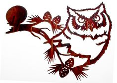 Great Horned Owl Head with Moon Laser Cut Metal Wall Art                                                                                                                                                                                 More