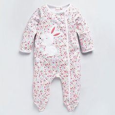 Baby's white floral bunny sleep suit - Baby sleepsuits - Rompers & sleepsuits - Kids -