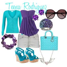 Purple and Turquoise so cute wish I could wear that
