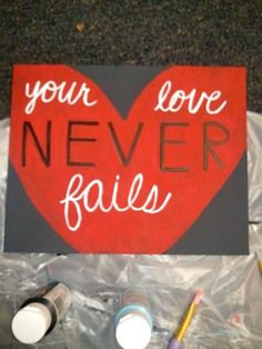 Your Love Never Fails Canvas Painting. $15.00, via Etsy.
