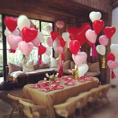 balloons; and, neutral colors with the pops of red and pink