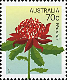 Telopea speciosissima featured on an Australian postage stamp, Australian Native Flowers, Australian Plants, Postage Stamp Design, Postage Stamps, Australian Painting, Going Postal, Flower Stamp, Japanese Prints, Pictures To Paint