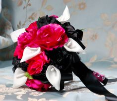 Hot Pink Black, White Silk Flower Wedding Bridal Bouquet.Roses,Calla Lily (Customize Your Package and Your color). $40.00, via Etsy.