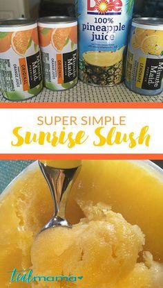 Sunrise slush is a frozen citrus drink perfect for summertime. Orange, pineapple, lemonade slush with Check out the recipe. Alcoholic Slush, Slushy Alcohol Drinks, Alcohol Drink Recipes, Fun Drinks, Yummy Drinks, Alcoholic Desserts, Mixed Drinks, Vodka Slushies, Pool Drinks