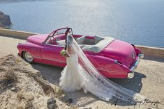 Stand out from the crowd on your wedding day with a bright Buick car Wedding Car, On Your Wedding Day, Destination Wedding, Santorini Wedding, Greece Wedding, Buick Cars, Weddingideas, Vintage Cars, Engagement Photos