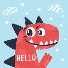 Cute dino, dinosaur illustration for print t-shirt. Premium Vector Discover millions of copyright-free vectors, photos and PSD Drawing For Kids, Art For Kids, Baby Dino, Cute Dinosaur, Cute Doodles, Illustrations And Posters, Cute Illustration, T Rex, Easy Drawings