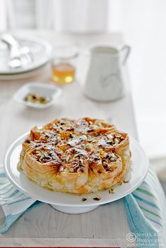 """Greek-Style Creamy Custard Phyllo Pie - from """"What's for lunch honey"""" Just Desserts, Dessert Recipes, Greek Cooking, Sweet Pie, Greek Recipes, Love Food, Crockpot, Food Photography, Photography Portfolio"""