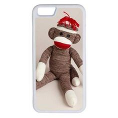 CellPowerCasesTM Sitting Sock Monkey iPhone 6 (4.7) Protective V1... ($13) ❤ liked on Polyvore featuring accessories, tech accessories and white