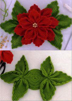 Crochet Christmas 3 D Flower - Knitting Pattern Crochet Christmas Decorations, Christmas Crafts To Make, Christmas Crochet Patterns, Crochet Flower Patterns, Crochet Flowers, Homemade Christmas, Crochet Diy, Crochet Gifts, Irish Crochet