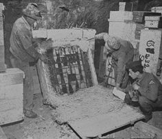 Stained-glass windows of Strasbourg cathedral. Charles Parkhurst Papers The Nazis had moved the Strasbourg cathedral windows to a salt mine at Heilbronn, Germany, where they were found by the Seventh US Army in April 1945. Monuments man Harry Ettlinger (right) is shown here inspecting them.
