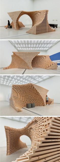 Amazing Timber Cladding Ideas to Spike up Your Building Design Parametric Architecture, Wood Architecture, Parametric Design, Installation Architecture, Residential Architecture, Computer Architecture, Pavilion Architecture, Art Installation, Sustainable Architecture