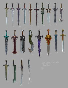 weapons and accessories concept art Anime Weapons, Fantasy Weapons, Fantasy Dagger, Armas Ninja, Armadura Medieval, Sword Design, 3d Modelle, Medieval Weapons, Swords And Daggers