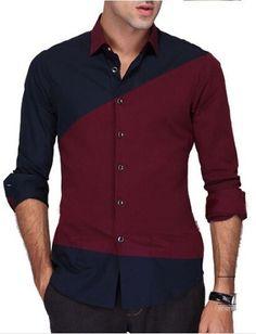 Camisa Casual Fashion Moderna en Dos Colores en Contraste - en Azul 741347cac8d0b