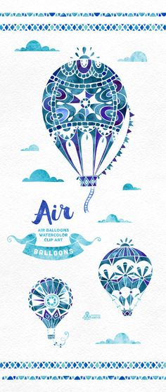 Air Balloons Blue. Watercolor handpainted clipart by OctopusArtis