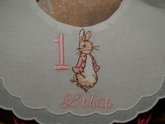 A personal favorite from my Etsy shop https://www.etsy.com/listing/473804883/personalized-baby-girl-heirloom-peter
